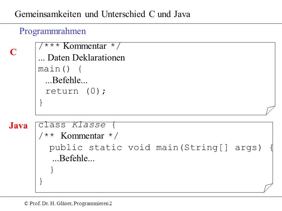 Gemeinsamkeiten und Unterschied C und Java
