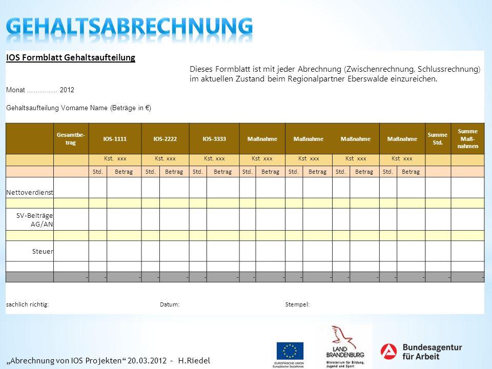 Gehaltsabrechnung IOS Formblatt Gehaltsaufteilung