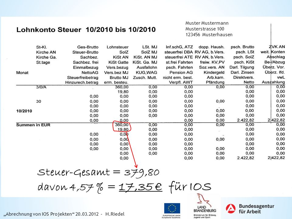 Steuer-Gesamt = 379,80 davon 4,57 % = 17,35 € für IOS