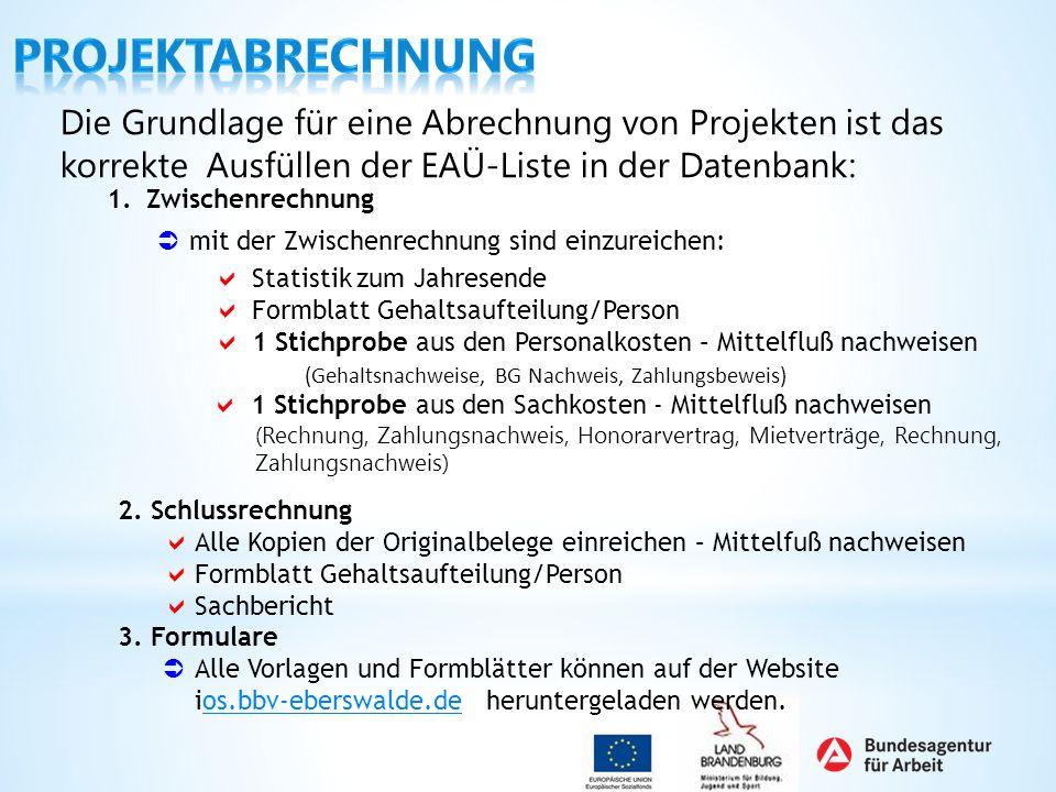 Projektabrechnung Die Grundlage für eine Abrechnung von Projekten ist das korrekte Ausfüllen der EAÜ-Liste in der Datenbank: