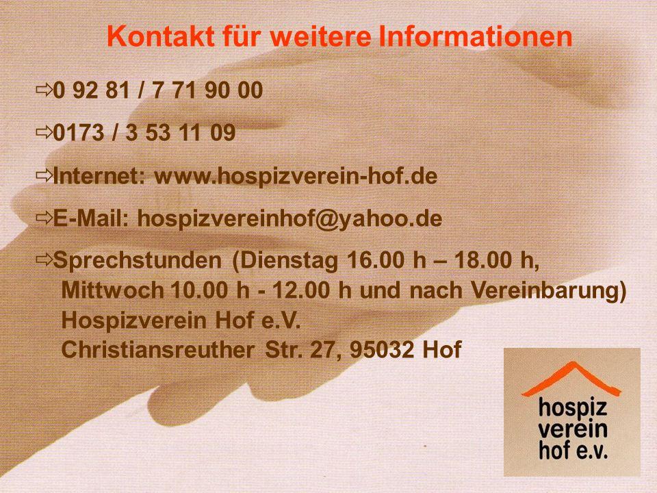 Kontakt für weitere Informationen