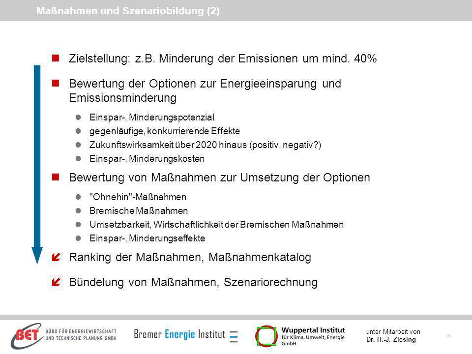 Maßnahmen und Szenariobildung (2)