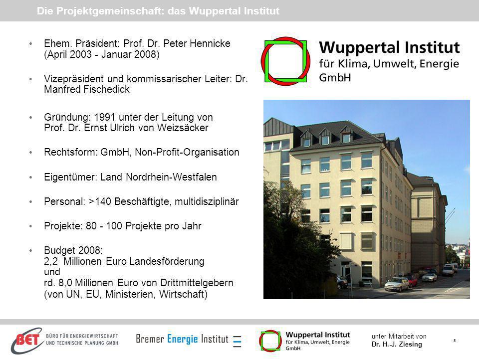 Die Projektgemeinschaft: das Wuppertal Institut