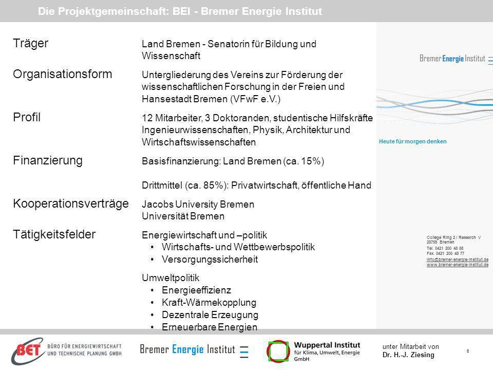 Die Projektgemeinschaft: BEI - Bremer Energie Institut