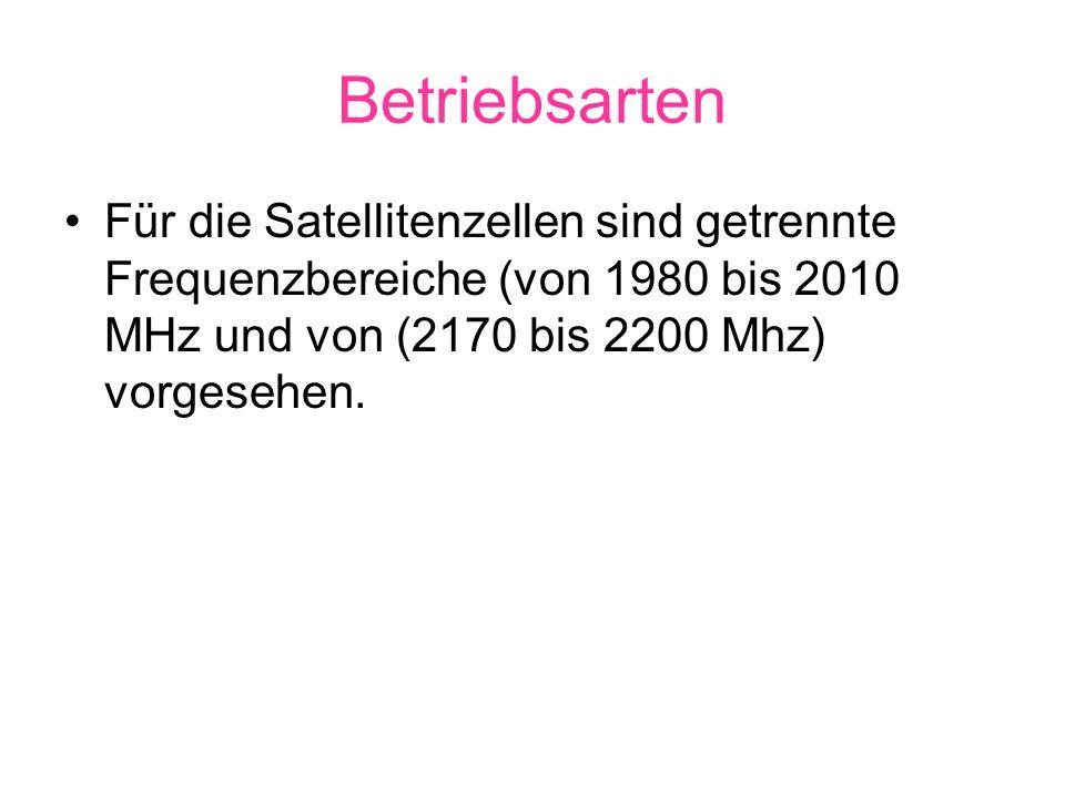 BetriebsartenFür die Satellitenzellen sind getrennte Frequenzbereiche (von 1980 bis 2010 MHz und von (2170 bis 2200 Mhz) vorgesehen.