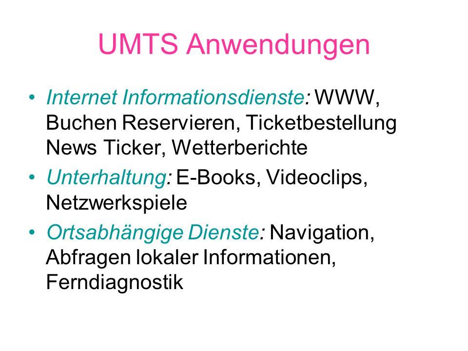 UMTS Anwendungen Internet Informationsdienste: WWW, Buchen Reservieren, Ticketbestellung News Ticker, Wetterberichte.