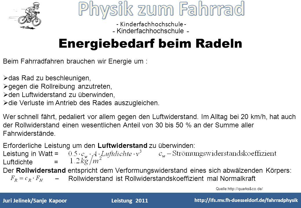 Energiebedarf beim Radeln