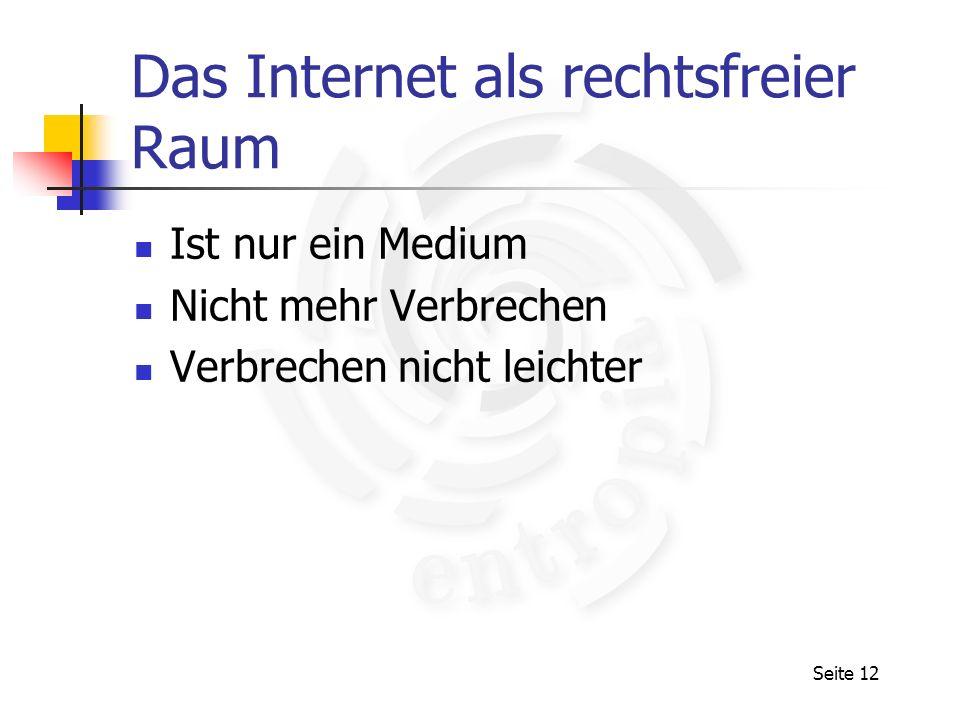 Das Internet als rechtsfreier Raum