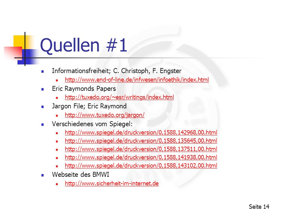 Quellen #1 Informationsfreiheit; C. Christoph, F. Engster