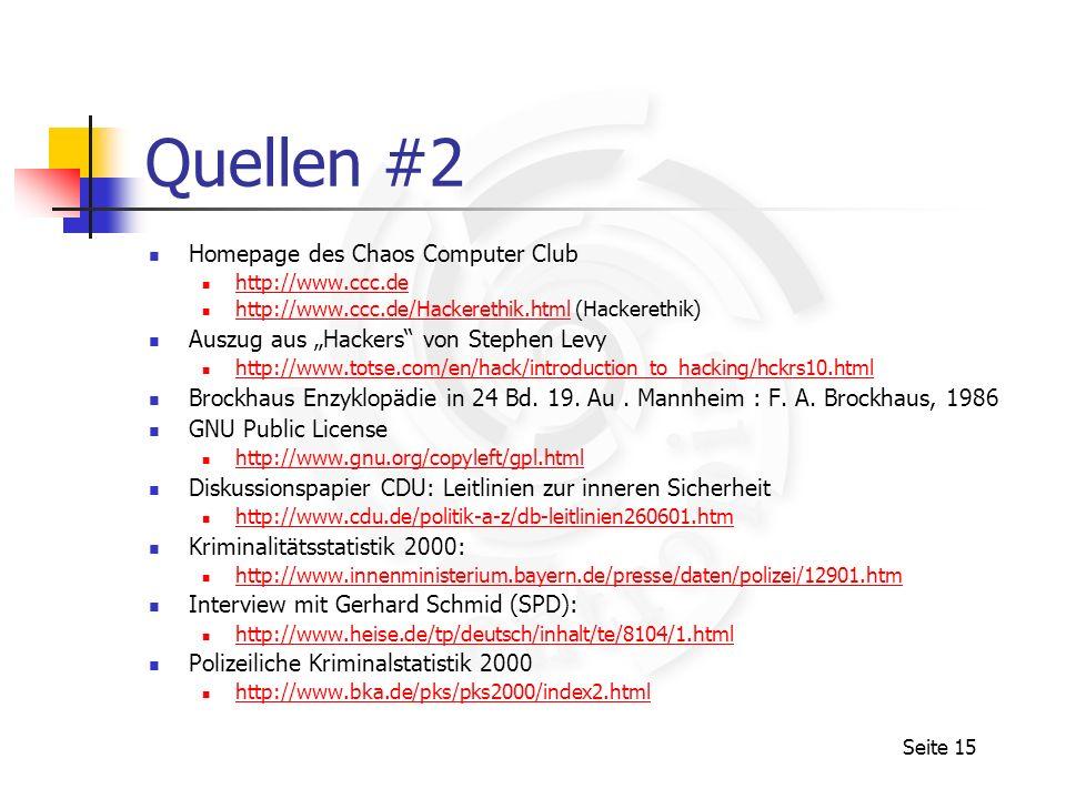 Quellen #2 Homepage des Chaos Computer Club