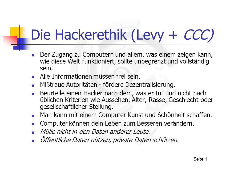 Die Hackerethik (Levy + CCC)