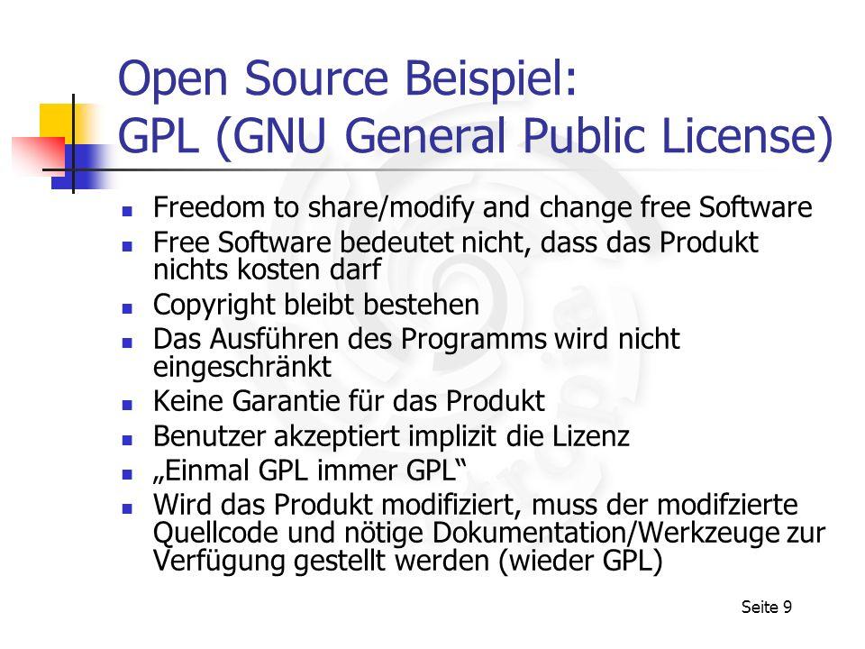 Open Source Beispiel: GPL (GNU General Public License)