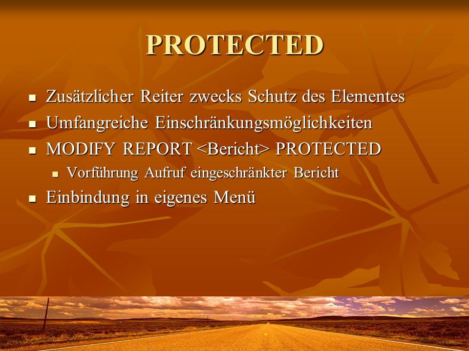 PROTECTED Zusätzlicher Reiter zwecks Schutz des Elementes