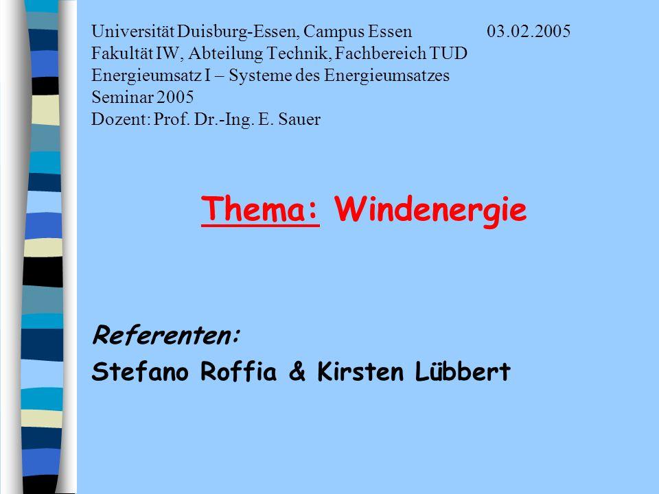 Thema: Windenergie Referenten: Stefano Roffia & Kirsten Lübbert
