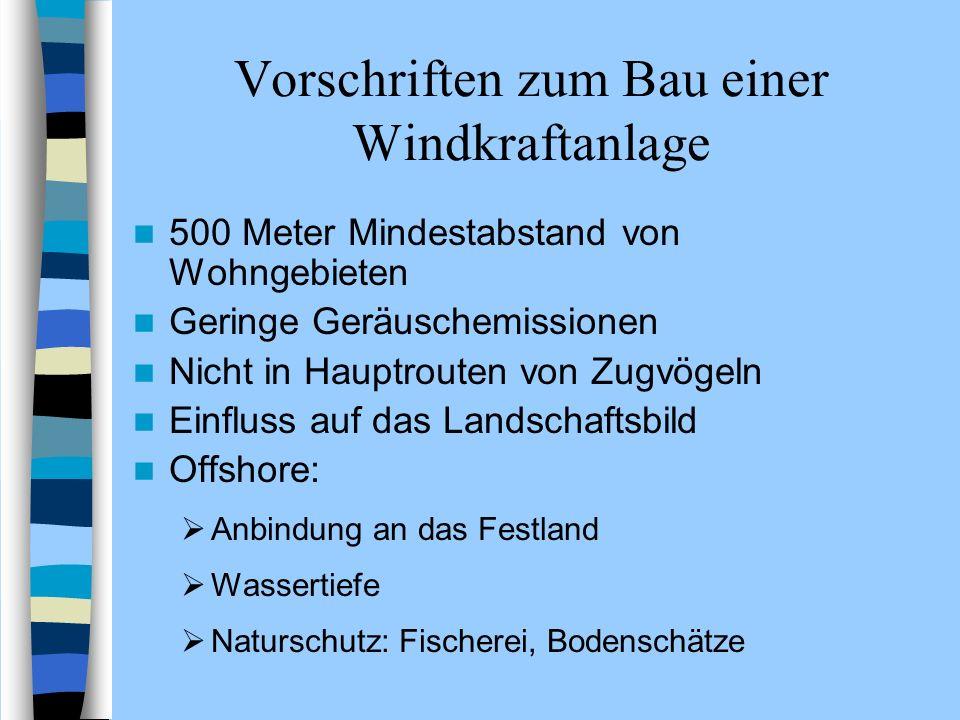 Vorschriften zum Bau einer Windkraftanlage