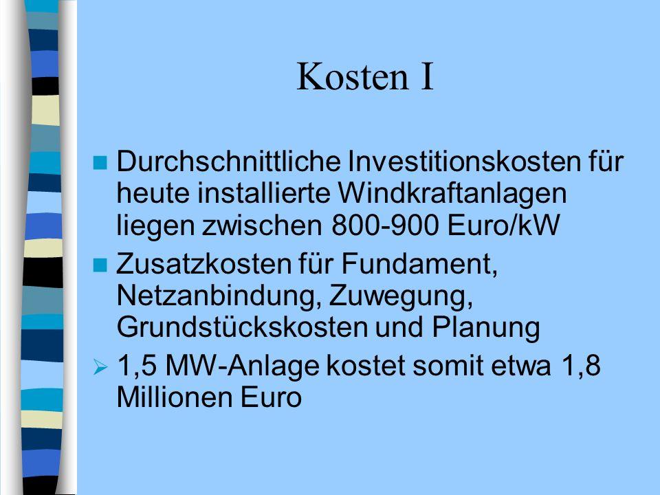 Kosten I Durchschnittliche Investitionskosten für heute installierte Windkraftanlagen liegen zwischen 800-900 Euro/kW.