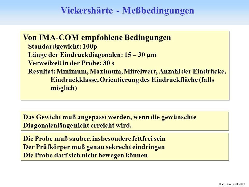 Vickershärte - Meßbedingungen