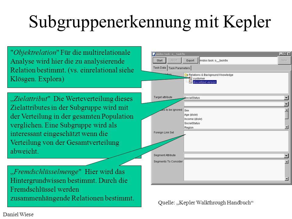 Subgruppenerkennung mit Kepler