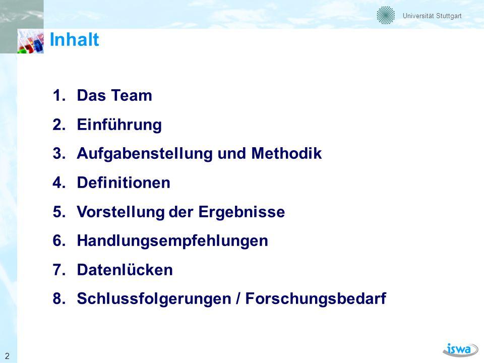 Inhalt Das Team Einführung Aufgabenstellung und Methodik Definitionen