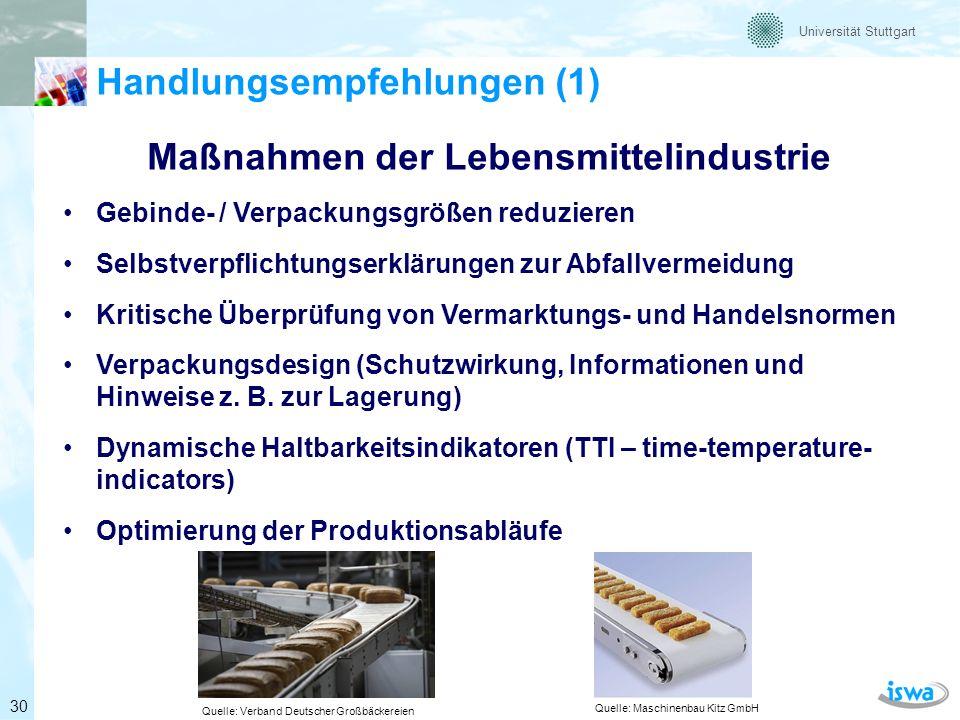 Maßnahmen der Lebensmittelindustrie