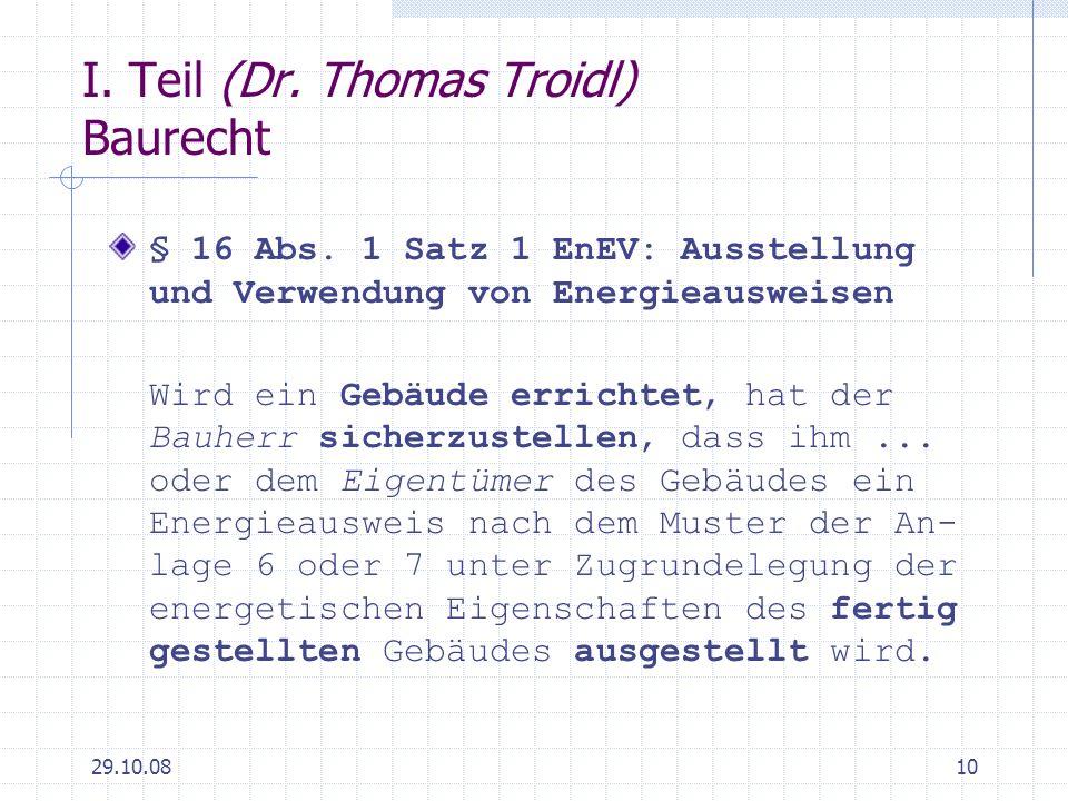 I. Teil (Dr. Thomas Troidl) Baurecht
