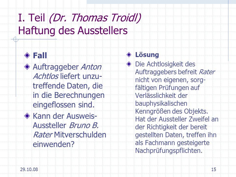I. Teil (Dr. Thomas Troidl) Haftung des Ausstellers