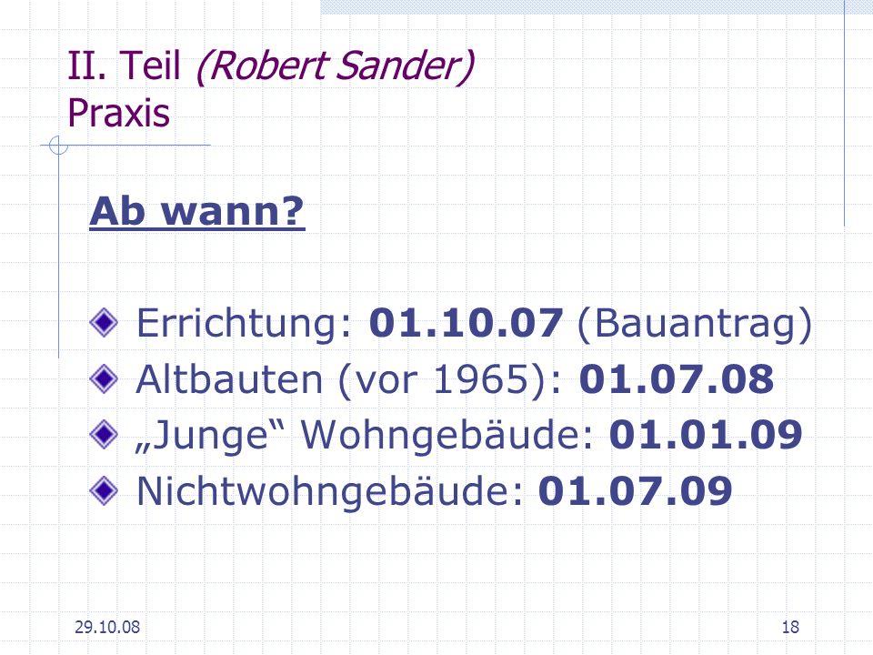 II. Teil (Robert Sander) Praxis