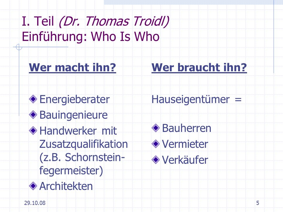 I. Teil (Dr. Thomas Troidl) Einführung: Who Is Who