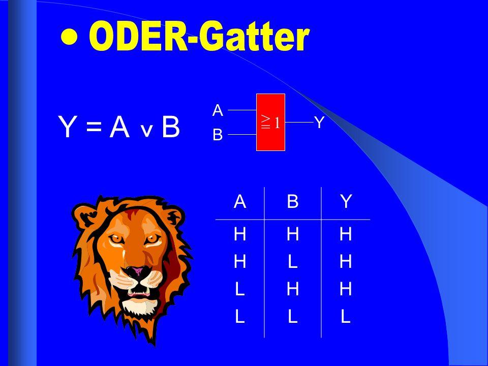 ODER-Gatter A Y = A B ^ > = 1 Y B A B Y H L