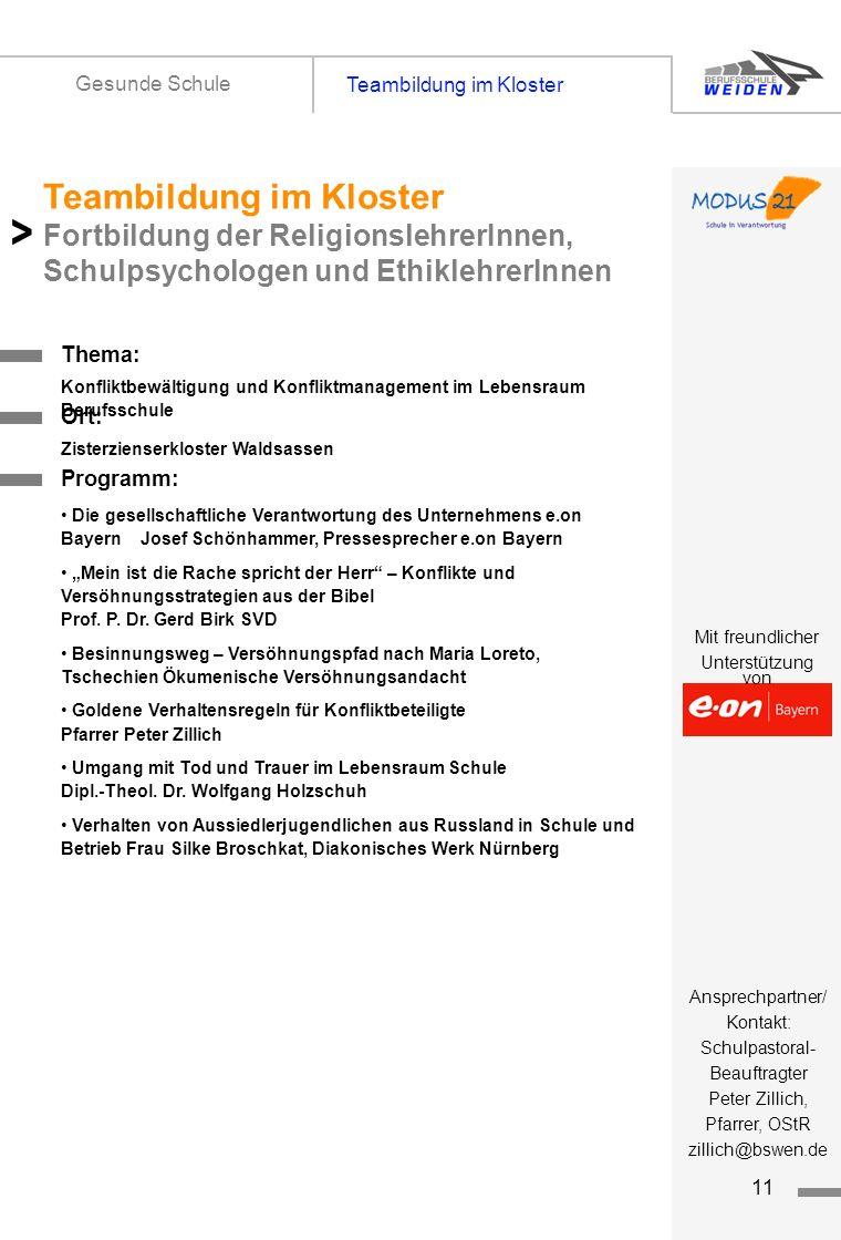 Gesunde Schule Teambildung im Kloster. Titelseite 1.