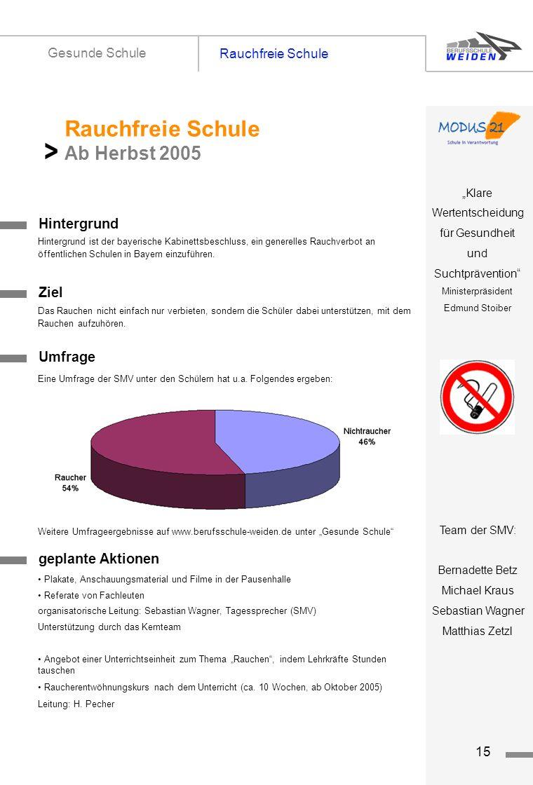 > Rauchfreie Schule Ab Herbst 2005 Rauchfreie Schule Gesunde Schule