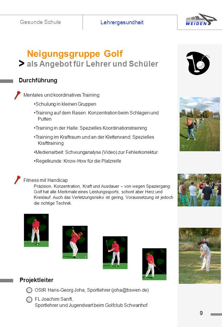 > Neigungsgruppe Golf als Angebot für Lehrer und Schüler