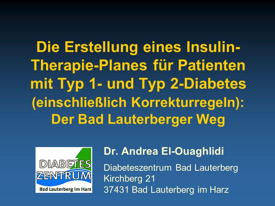 Die Erstellung eines Insulin- Therapie-Planes für Patienten mit Typ 1- und Typ 2-Diabetes (einschließlich Korrekturregeln): Der Bad Lauterberger Weg
