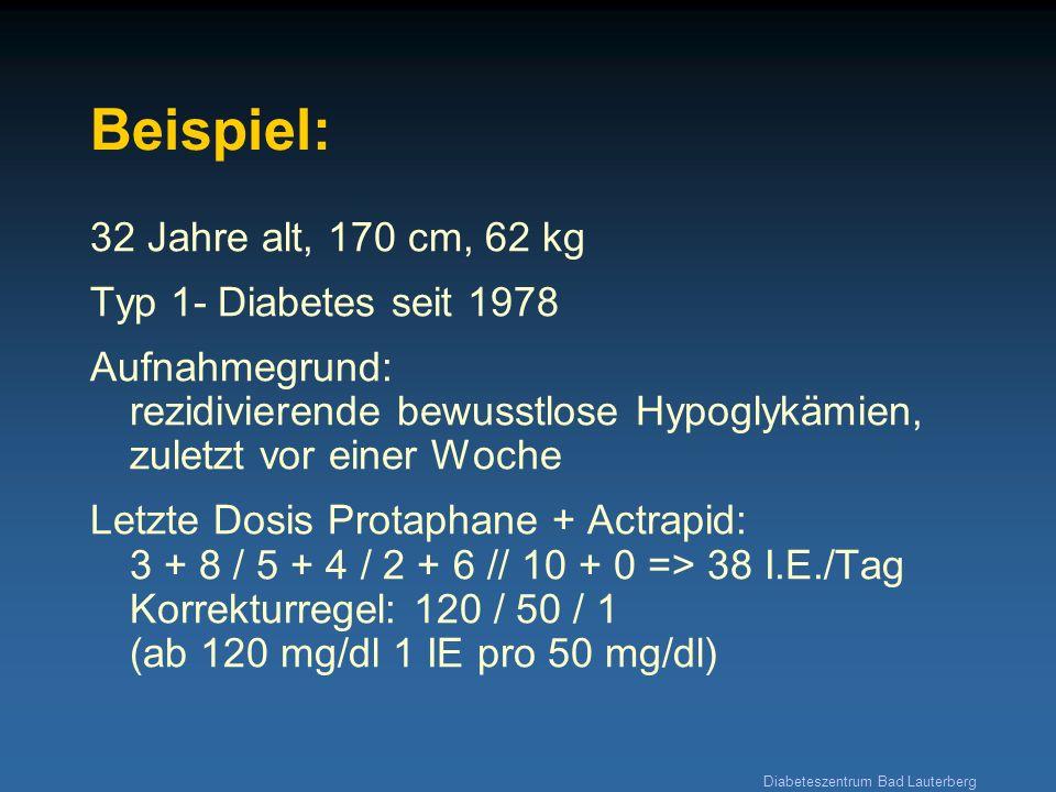 Beispiel: 32 Jahre alt, 170 cm, 62 kg Typ 1- Diabetes seit 1978