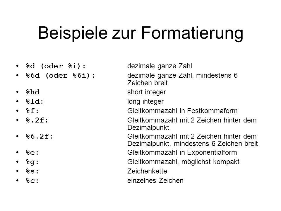Beispiele zur Formatierung
