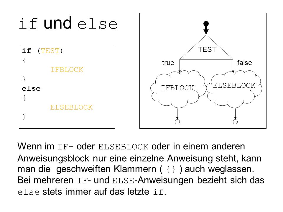 if (TEST) { IFBLOCK } else ELSEBLOCK