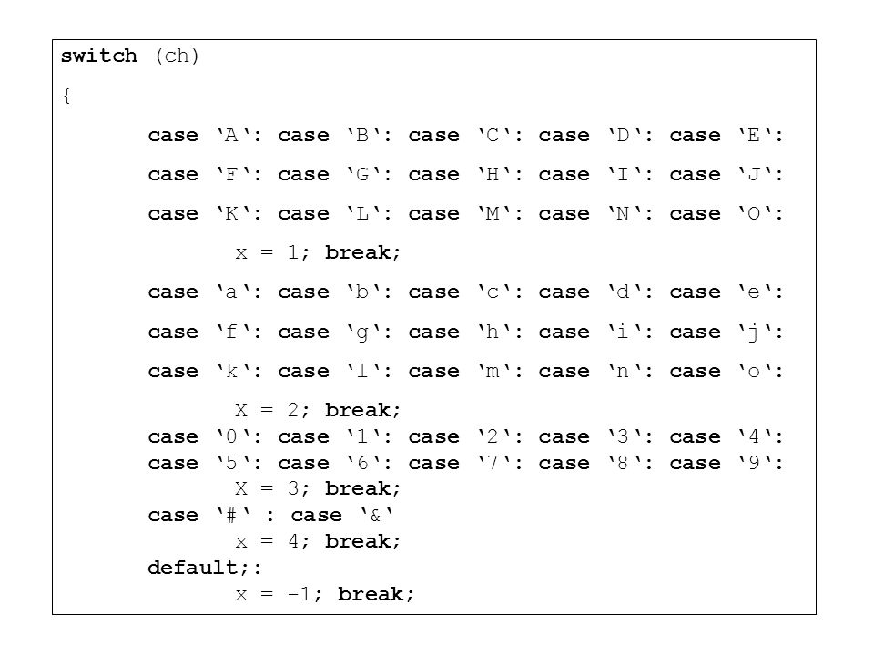 switch (ch) { case 'A': case 'B': case 'C': case 'D': case 'E': case 'F': case 'G': case 'H': case 'I': case 'J':