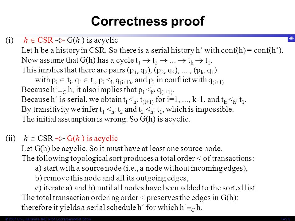 Correctness proof (i) h  CSR  G(h ) is acyclic
