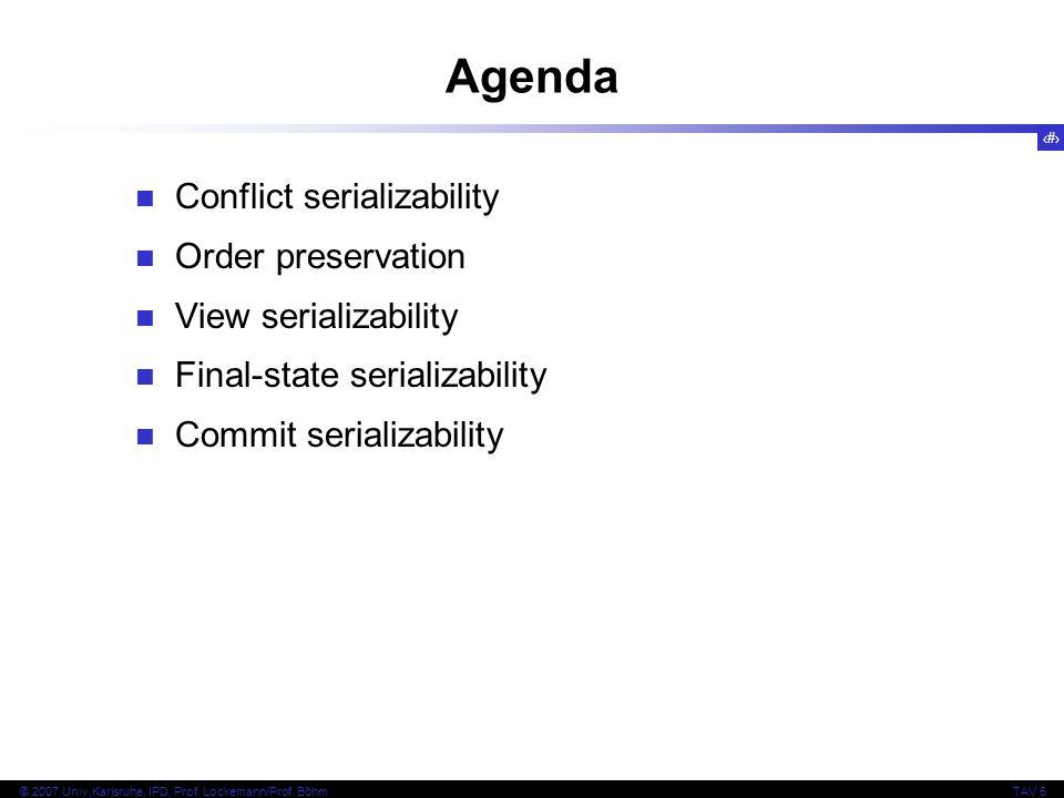 Agenda Conflict serializability Order preservation