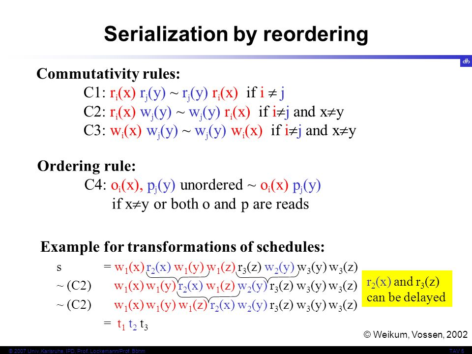 Serialization by reordering