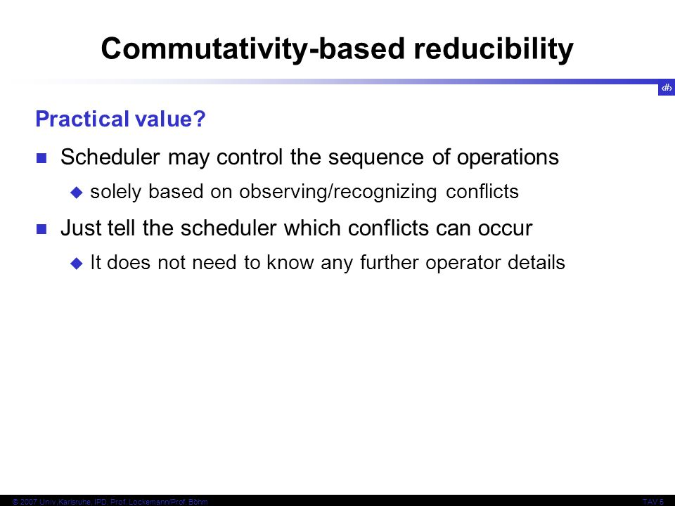 Commutativity-based reducibility