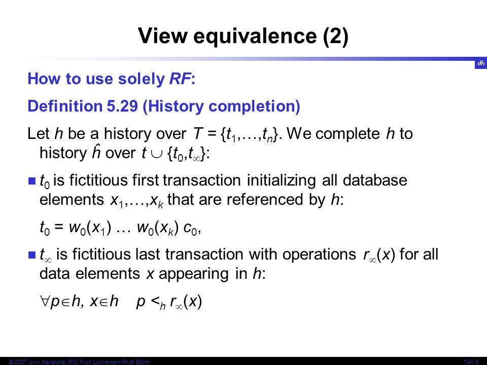 View equivalence (2) How to use solely RF: