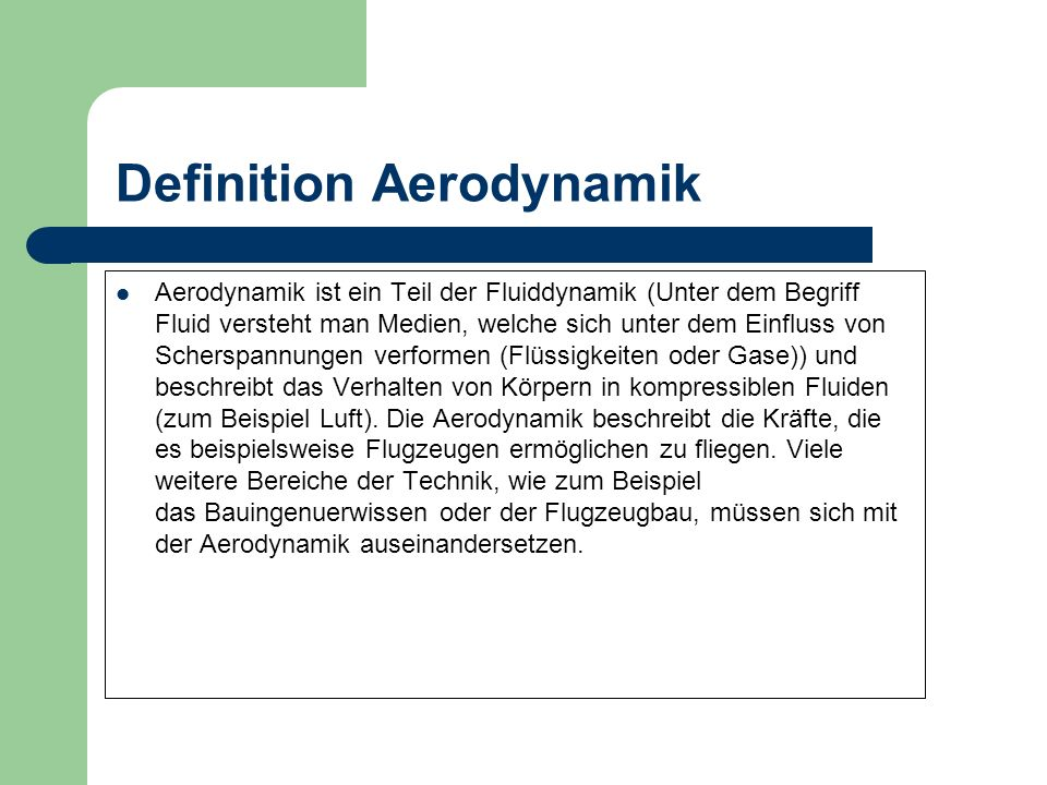 Definition Aerodynamik
