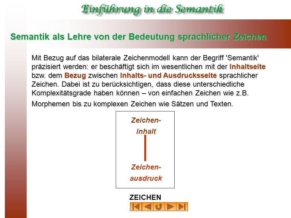 Semantik als Lehre von der Bedeutung sprachlicher Zeichen