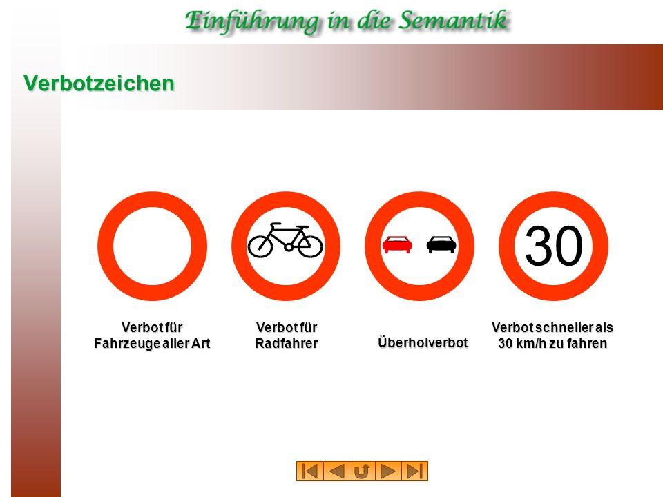 Verbot für Fahrzeuge aller Art Verbot schneller als 30 km/h zu fahren