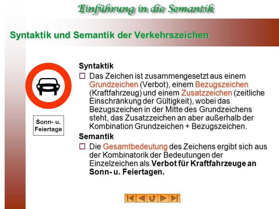 Syntaktik und Semantik der Verkehrszeichen