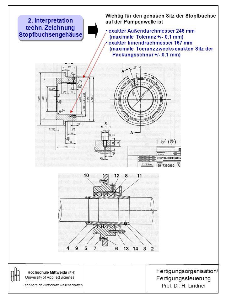 2. Interpretation techn. Zeichnung Stopfbuchsengehäuse