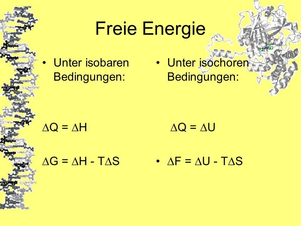 Freie Energie Unter isobaren Bedingungen: ∆Q = ∆H ∆G = ∆H - T∆S