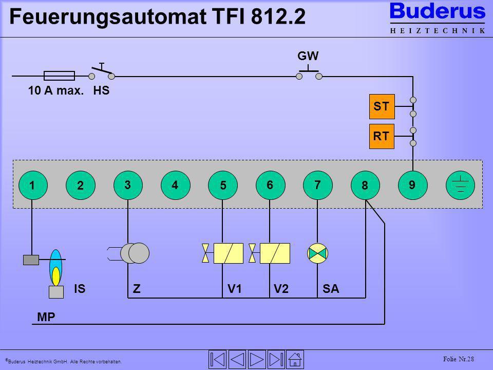 Feuerungsautomat TFI 812.2 GW HS 10 A max. ST RT 1 2 3 4 5 6 7 8 9 IS
