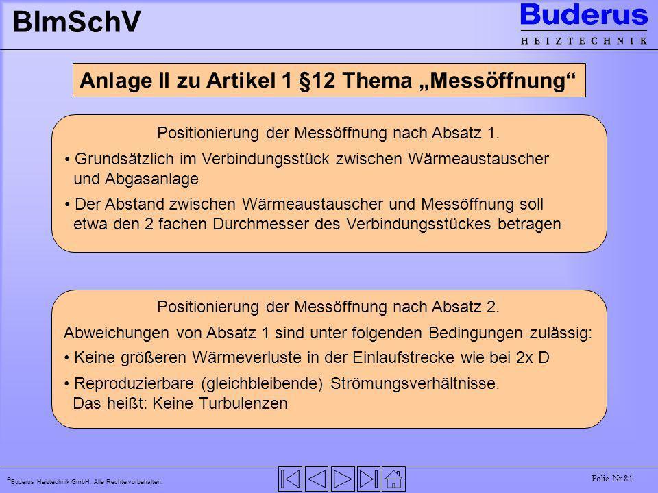 """BImSchV Anlage II zu Artikel 1 §12 Thema """"Messöffnung"""